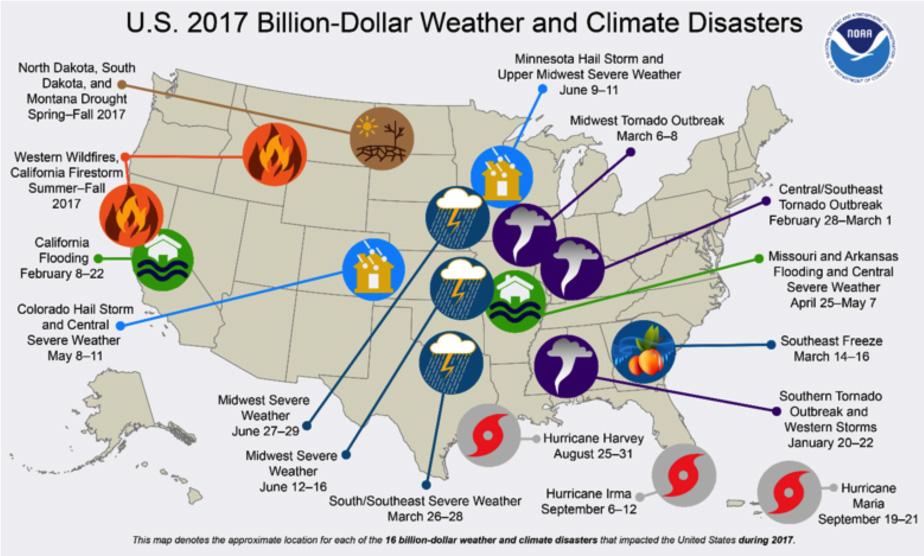 2017 USA Natural Disasters Map